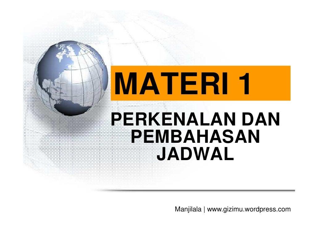 MATERI 1PERKENALAN DAN  PEMBAHASAN    JADWAL     Manjilala   www.gizimu.wordpress.com