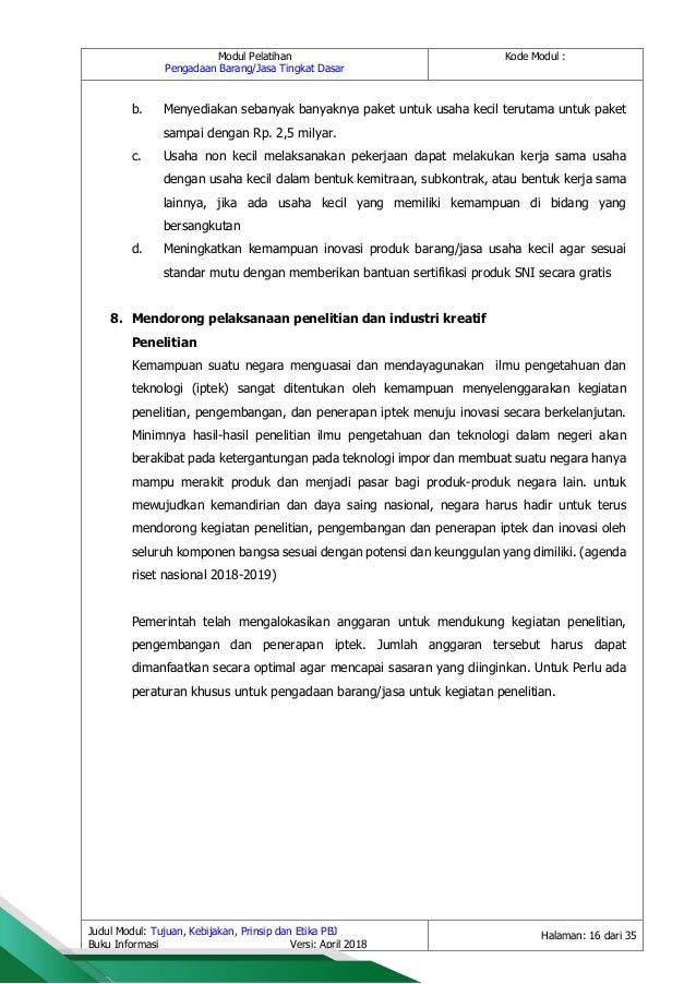 Materi 2 Tujuan Kebijakan Etika Pbj