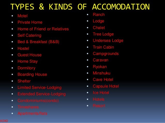 XOXO  TYPES & KINDS OF ACCOMODATION   Motel    Ranch    Private Home    Lodge    Home of Friend or Relatives    Chal...