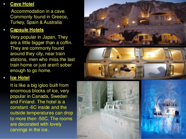   Cave Hotel Accommodation in a cave. Commonly found in Greece, Turkey, Spain & Australia    Capsule Hotels Very popular...