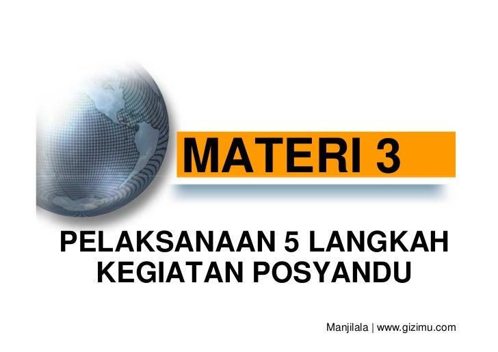MATERI 3PELAKSANAAN 5 LANGKAH  KEGIATAN POSYANDU              Manjilala   www.gizimu.com