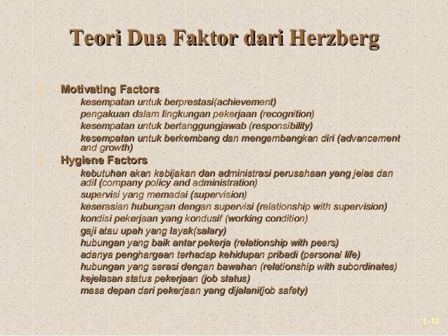 1-13Teori Dua Faktor dari HerzbergTeori Dua Faktor dari HerzbergMotivating FactorsMotivating Factors kesempatan untuk ber...
