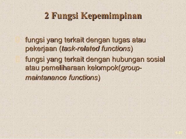 1-272 Fungsi Kepemimpinan2 Fungsi Kepemimpinanfungsi yang terkait dengan tugas ataufungsi yang terkait dengan tugas ataupe...