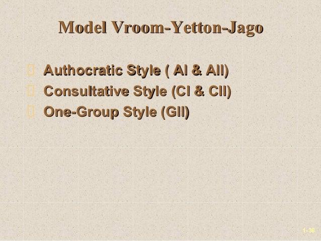 1-36Model Vroom-Yetton-JagoModel Vroom-Yetton-JagoAuthocratic Style ( AI & AII)Authocratic Style ( AI & AII)Consultative S...
