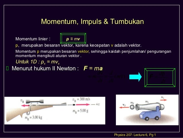 Momentum, Impuls & Tumbukan Momentum linier :      p ≡ mv p, merupakan besaran vektor, karena kecepatan v adalah vektor. M...