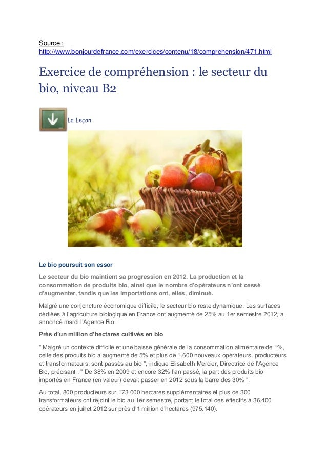 Source : http://www.bonjourdefrance.com/exercices/contenu/18/comprehension/471.html  Exercice de compréhension : le secteu...
