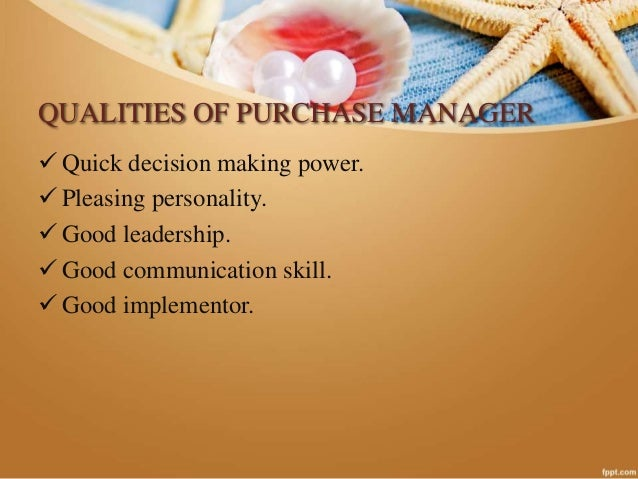 qualities of purchase manager