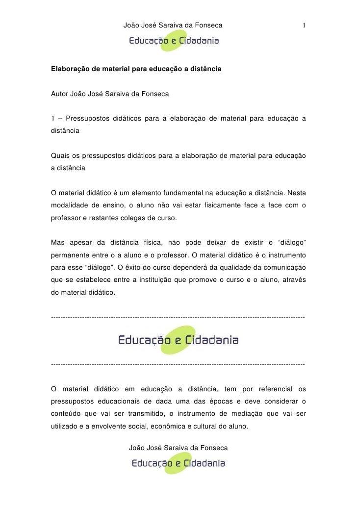 João José Saraiva da Fonseca                                              1     Elaboração de material para educação a dis...