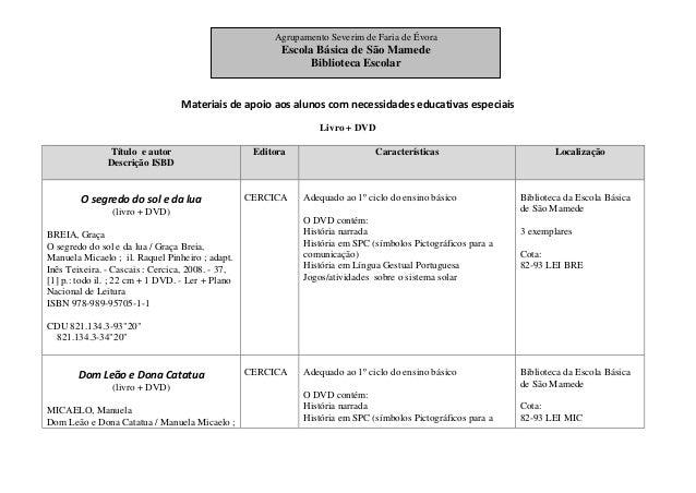 Materiais de apoio aos alunos com necessidades educativas especiais Livro + DVD Título e autor Descrição ISBD Editora Cara...