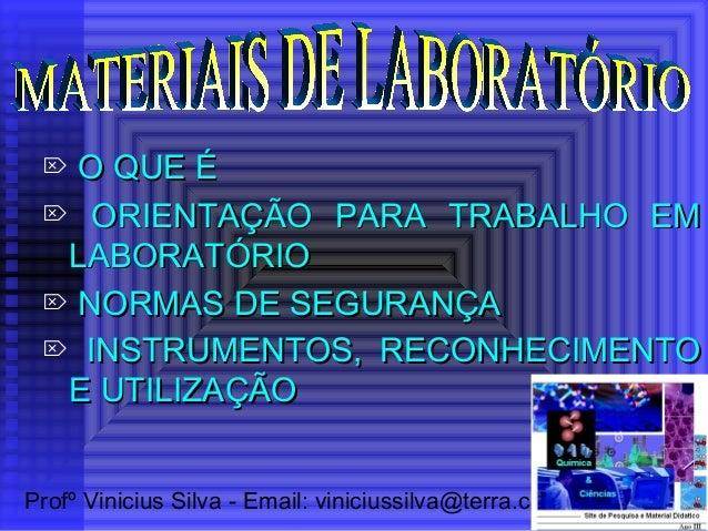 Profº Vinicius Silva - Email: viniciussilva@terra.com.br  O QUE ÉO QUE É  ORIENTAÇÃO PARA TRABALHO EMORIENTAÇÃO PARA TRA...