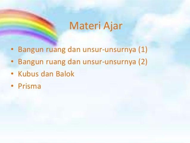 Materi Ajar•   Bangun ruang dan unsur-unsurnya (1)•   Bangun ruang dan unsur-unsurnya (2)•   Kubus dan Balok•   Prisma
