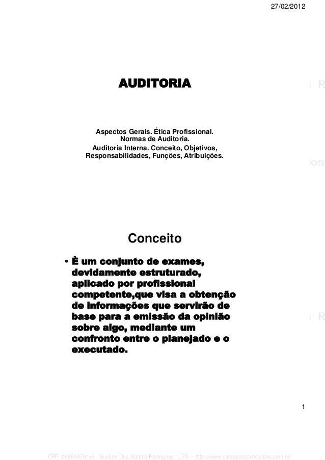 27/02/2012 1 AUDITORIA Aspectos Gerais. Ética Profissional. Normas de Auditoria. Auditoria Interna. Conceito, Objetivos, R...