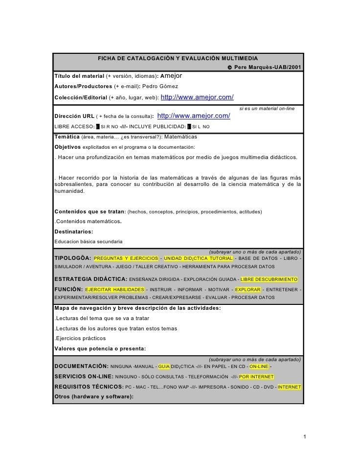FICHA DE CATALOGACIÓN Y EVALUACIÓN MULTIMEDIA                                                                      © Pere ...
