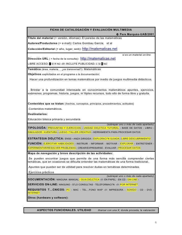 FICHA DE CATALOGACIÓN Y EVALUACIÓN MULTIMEDIA                                                                   © Pere Mar...