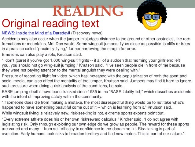 Skimming Activity • Read the text quickly and decide which of the following is  the title of this text.  A. The extreme su...