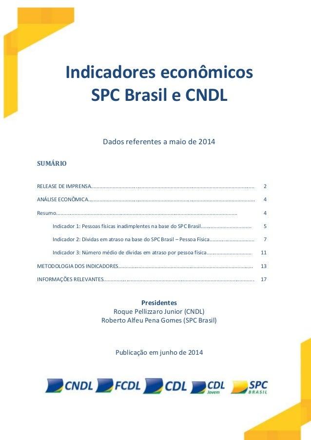 Indicadores econômicos SPC Brasil e CNDL Dados referentes a maio de 2014 SUMÁRIO RELEASE DE IMPRENSA.........................
