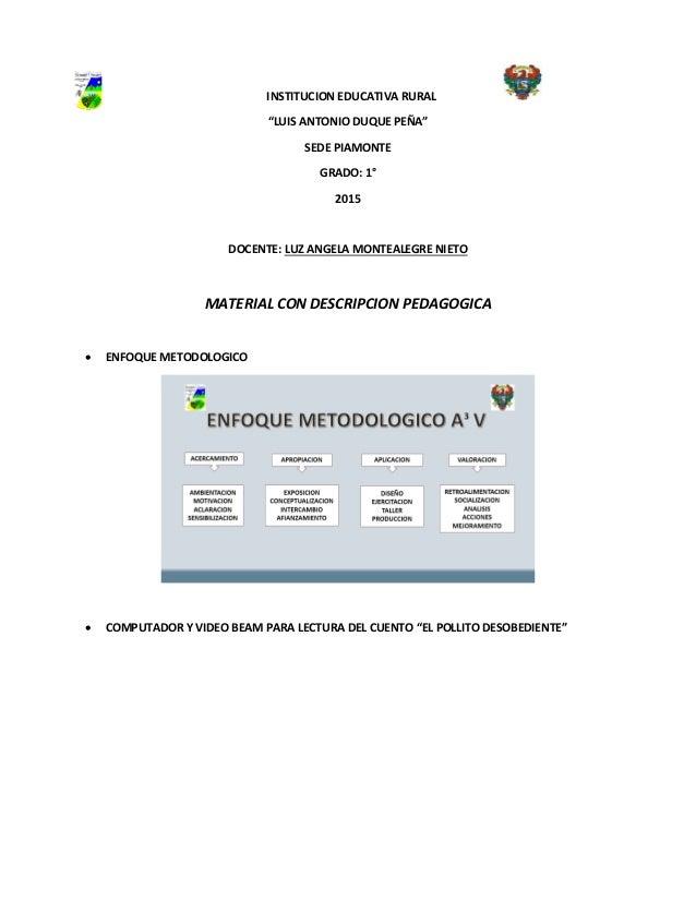 """INSTITUCION EDUCATIVA RURAL """"LUIS ANTONIO DUQUE PEÑA"""" SEDE PIAMONTE GRADO: 1° 2015 DOCENTE: LUZ ANGELA MONTEALEGRE NIETO M..."""