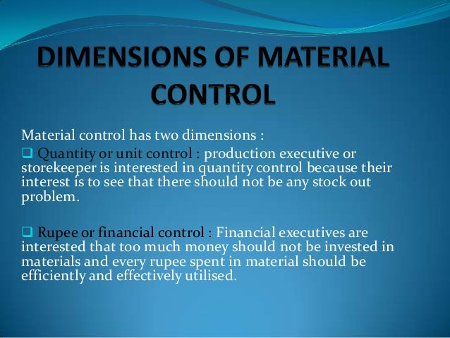 techniques of material control