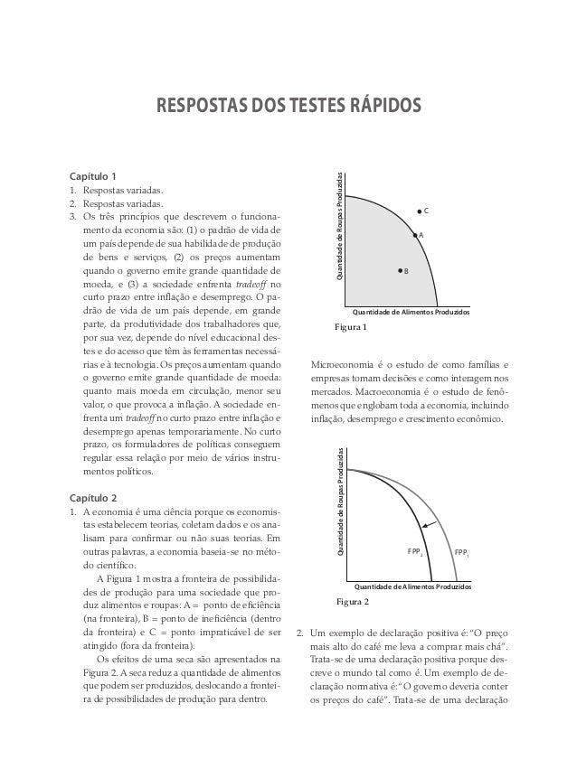 Capítulo 1 1. Respostas variadas. 2. Respostas variadas. 3. Os três princípios que descrevem o funciona- mento da economia...
