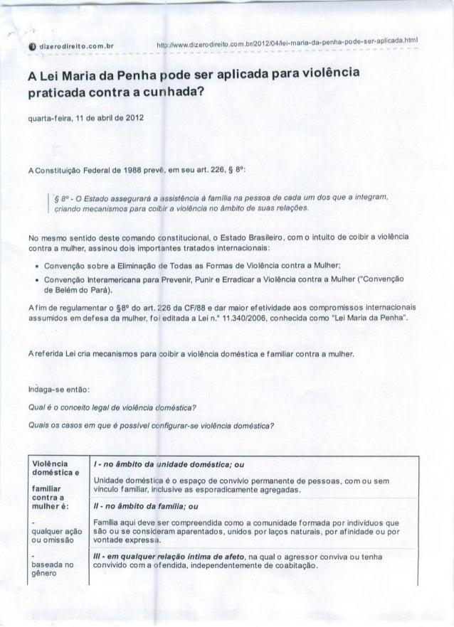 0, l) dlzerodireito.com.br http://www.dizerodireito.com.br/2012/04/lei-maria-da-penha-pode-ser-aplicada.htm I A Lei Maria ...