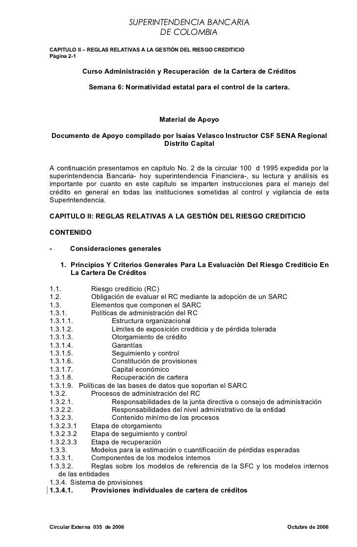SUPERINTENDENCIA BANCARIA                                      DE COLOMBIACAPITULO II – REGLAS RELATIVAS A LA GESTIÓN DEL ...