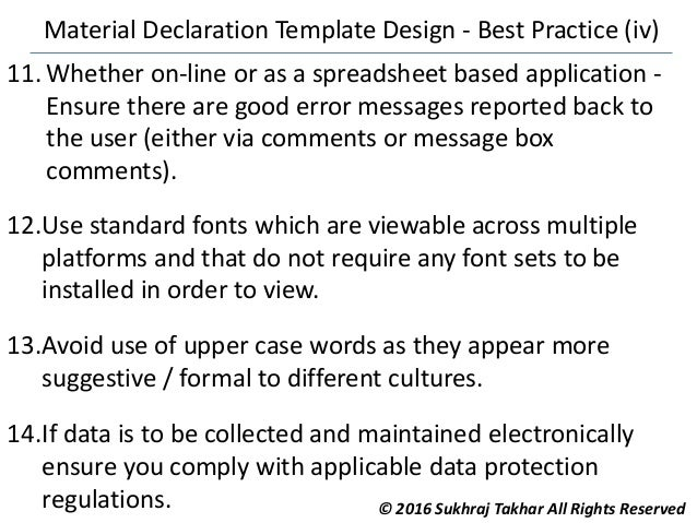 material declaration template design best practice. Black Bedroom Furniture Sets. Home Design Ideas