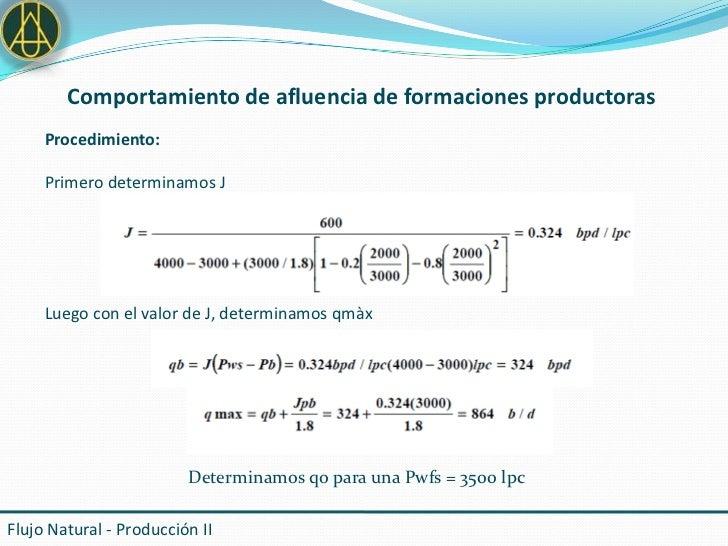 Comportamiento de afluencia de formaciones productoras     Procedimiento:     Primero determinamos J     Luego con el valo...