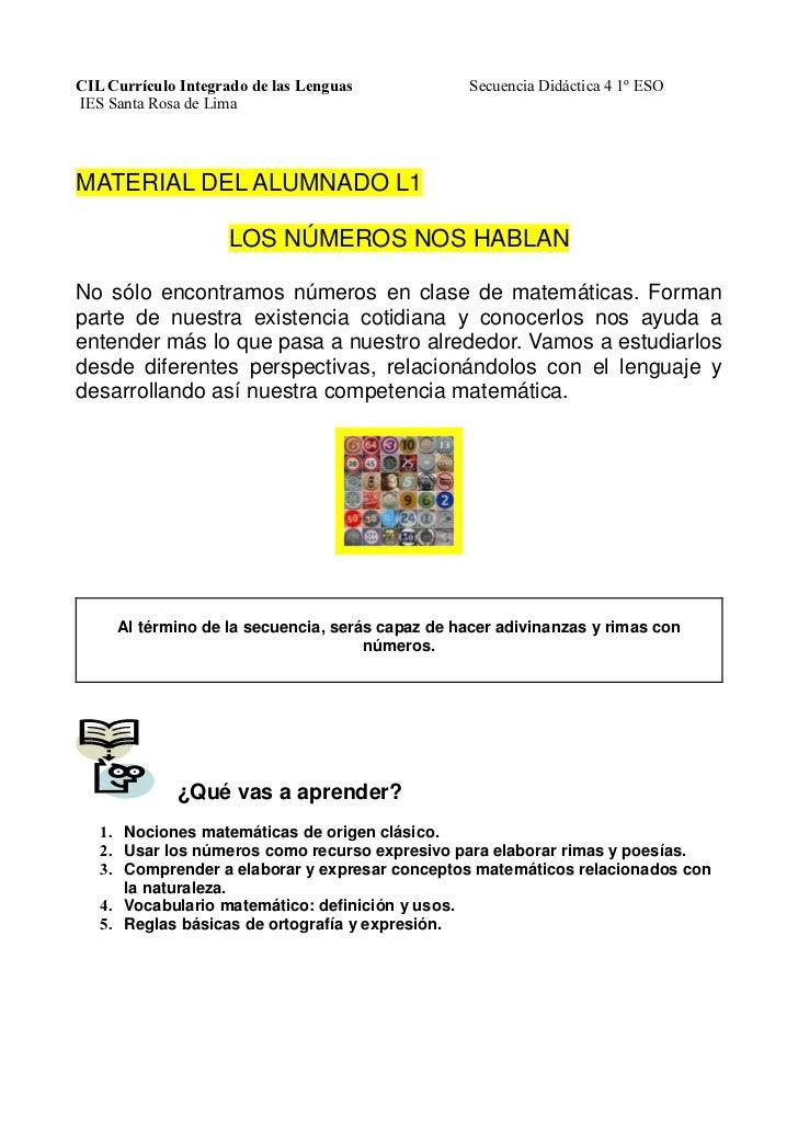 CIL Currículo Integrado de las Lenguas           Secuencia Didáctica 4 1º ESOIES Santa Rosa de LimaMATERIAL DEL ALUMNADO L...