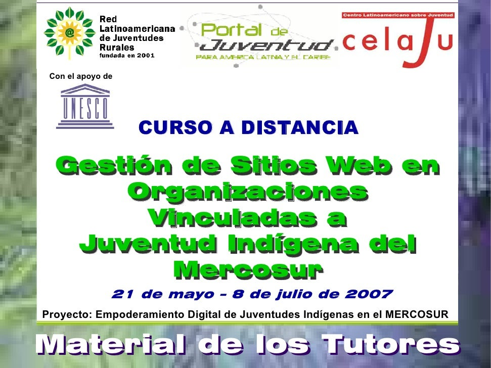 Con el apoyo de                        CURSO A DISTANCIA    Gestión de Sitios Web en       Organizaciones         Vinculad...