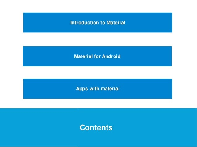 USEFUL Links  Introduction to Material  Material for Android  Apps with material  Contents