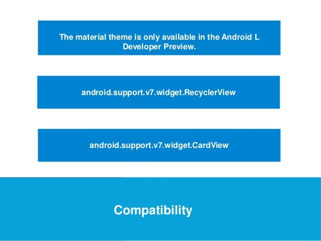 USEFUL Links  The material theme is only available in the Android L  Developer Preview.  android.support.v7.widget.Recycle...