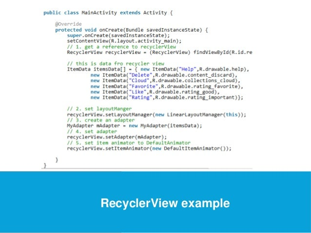 USEFUL Links  RecyclerView example