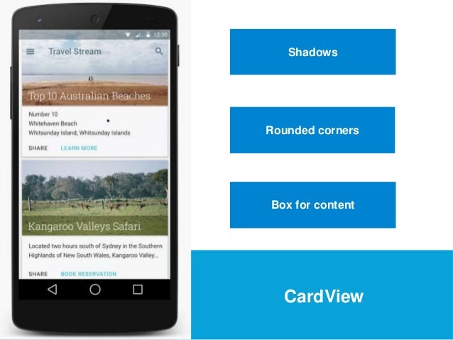USEFUL Links  Shadows  Rounded corners  Box for content  CardView