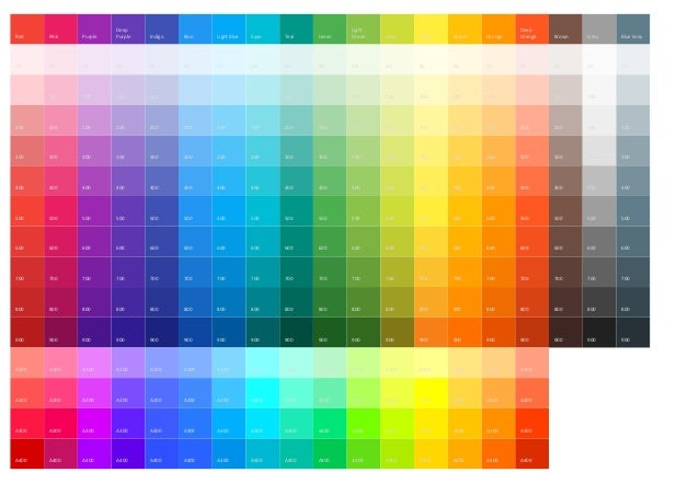 Material Design Colour Chart In Powerpoint