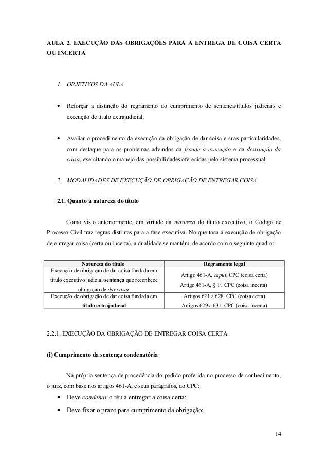 AULA 2. EXECUÇÃO DAS OBRIGAÇÕES PARA A ENTREGA DE COISA CERTA OU INCERTA 1. OBJETIVOS DA AULA • Reforçar a distinção do re...