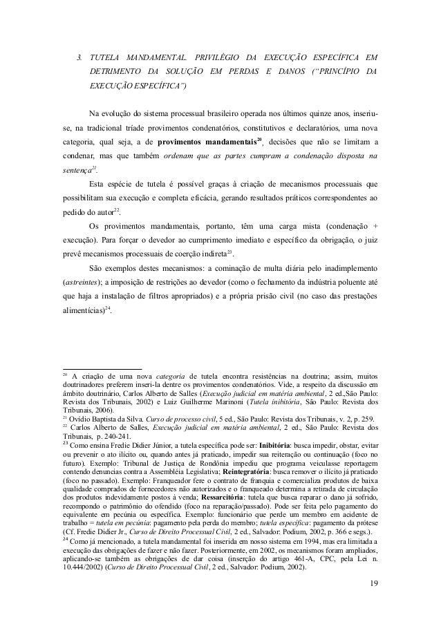 """3. TUTELA MANDAMENTAL. PRIVILÉGIO DA EXECUÇÃO ESPECÍFICA EM DETRIMENTO DA SOLUÇÃO EM PERDAS E DANOS (""""PRINCÍPIO DA EXECUÇÃ..."""