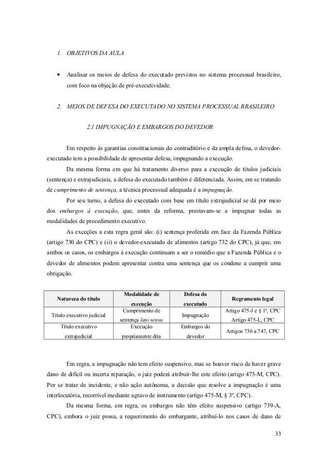 1. OBJETIVOS DA AULA • Analisar os meios de defesa do executado previstos no sistema processual brasileiro, com foco na ob...