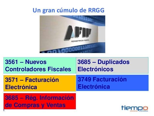 1 3561 – Nuevos Controladores Fiscales 3571 – Facturación Electrónica 3685 – Rég. Información de Compras y Ventas 3749 Fac...
