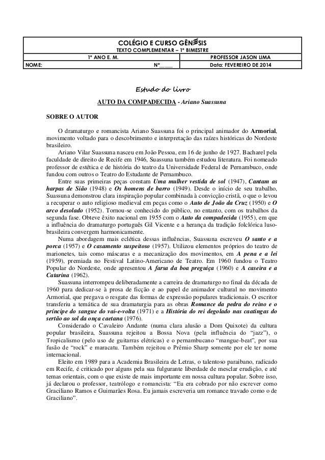 COLÉGIO E CURSO GÊN SIS NOME:  TEXTO COMPLEMENTAR – 1º BIMESTRE 1º ANO E. M. PROFESSOR JASON LIMA Nº_____ Data: FEVEREIRO ...