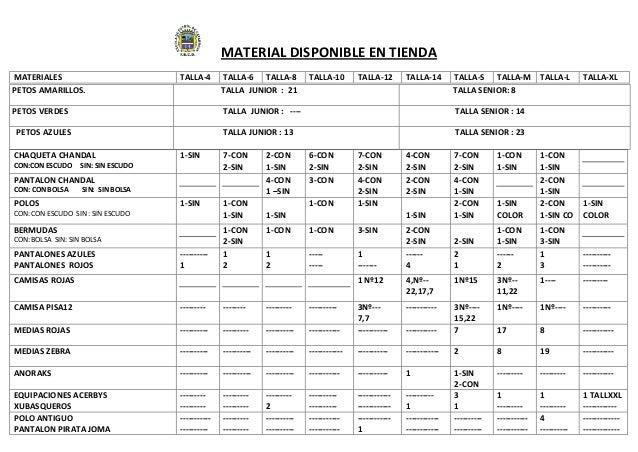 MATERIAL DISPONIBLE EN TIENDAMATERIALES TALLA-4 TALLA-6 TALLA-8 TALLA-10 TALLA-12 TALLA-14 TALLA-S TALLA-M TALLA-L TALLA-X...