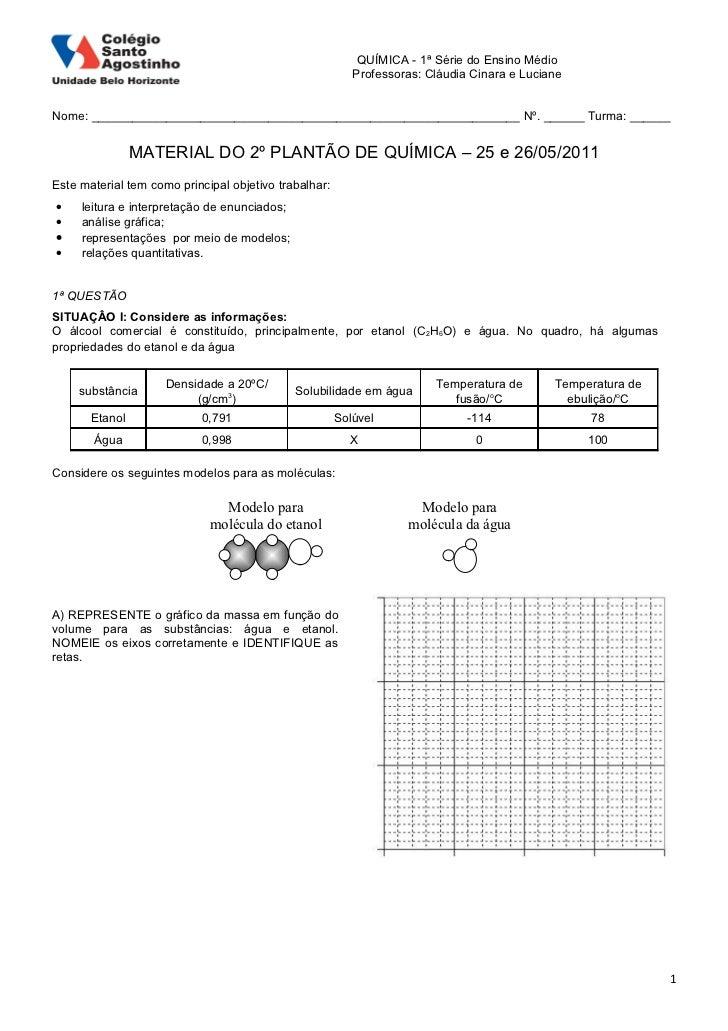 QUÍMICA - 1ª Série do Ensino Médio                                                          Professoras: Cláudia Cinara e ...