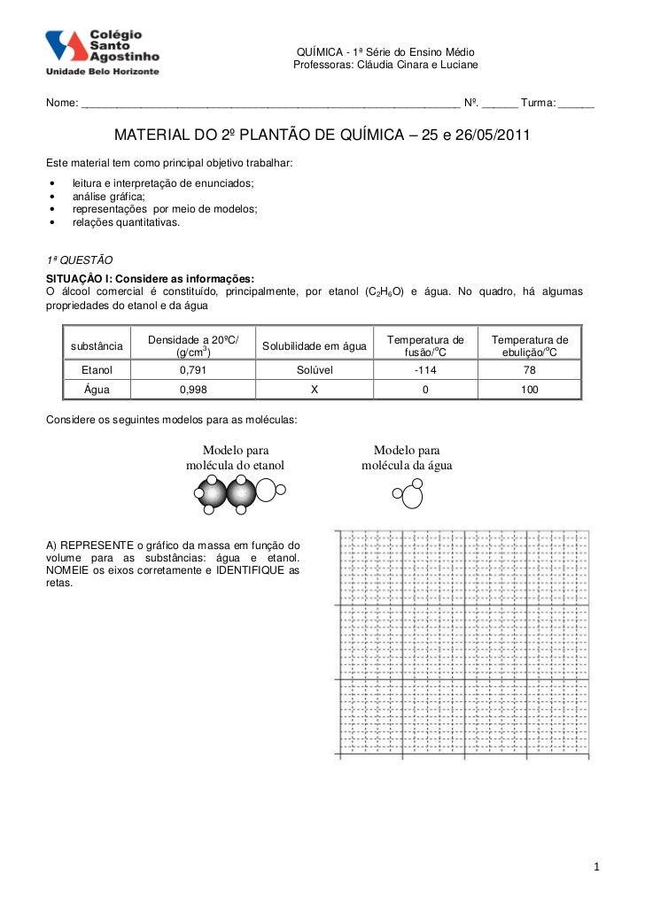 QUÍMICA - 1ª Série do Ensino Médio                                                       Professoras: Cláudia Cinara e Luc...
