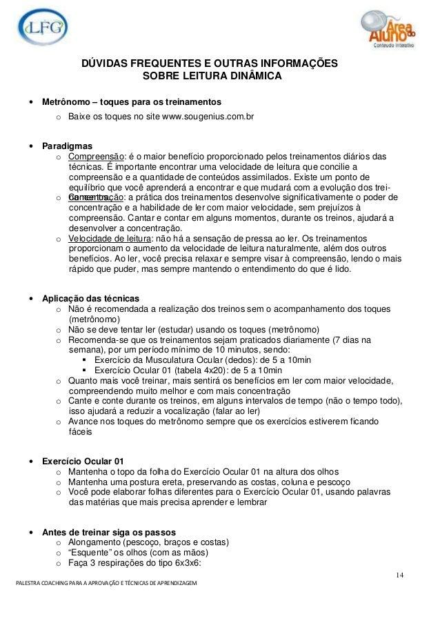 14 PALESTRA COACHING PARA A APROVAÇÃO E TÉCNICAS DE APRENDIZAGEM DÚVIDAS FREQUENTES E OUTRAS INFORMAÇÕES SOBRE LEITURA DIN...