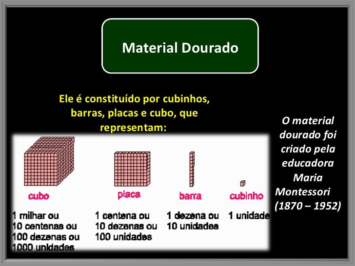 O material dourado foi criado pela educadora Maria Montessori  (1870 – 1952) Ele é constituído por cubinhos, barras, placa...