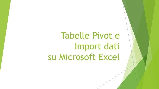 Tabelle Pivot e Import dati su Microsoft Excel