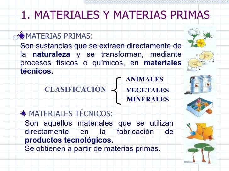 1. MATERIALES Y MATERIAS PRIMAS MATERIAS PRIMAS: CLASIFICACIÓN ANIMALES   VEGETALES MINERALES Son sustancias que se extrae...
