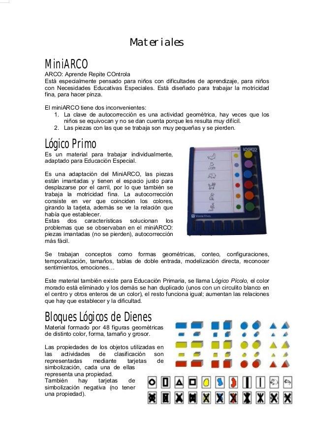 Materiales MiniARCO ARCO: Aprende Repite COntrola Está especialmente pensado para niños con dificultades de aprendizaje, p...