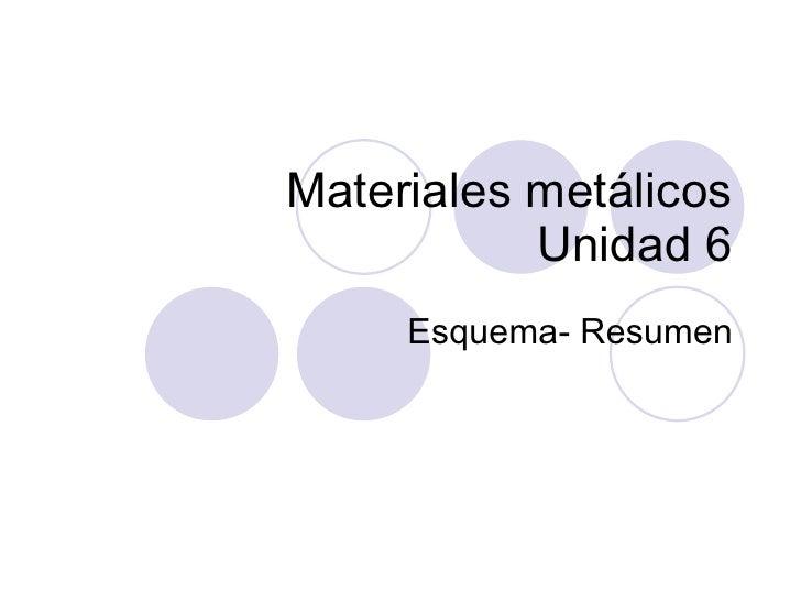 Materiales metálicos Unidad 6 Esquema- Resumen