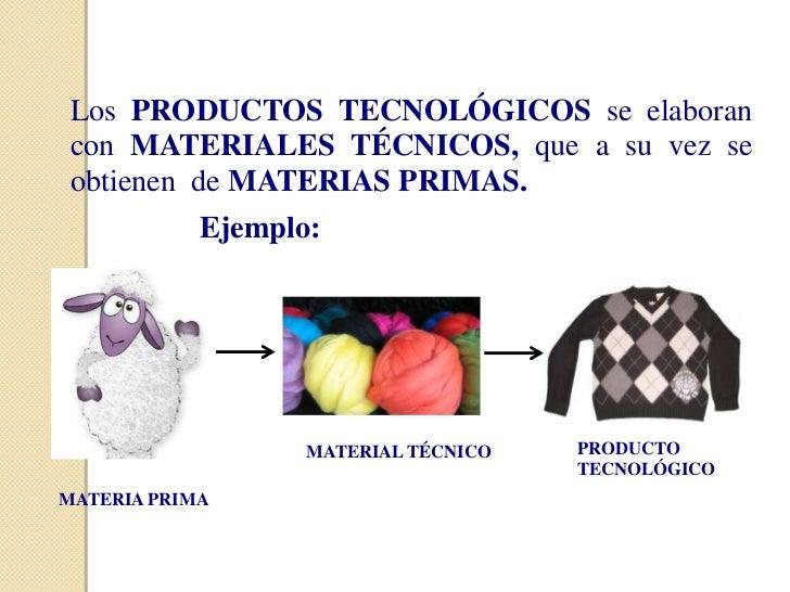 Los PRODUCTOS TECNOLÓGICOS se elaborancon MATERIALES TÉCNICOS, que a su vez seobtienen de MATERIAS PRIMAS.            Ejem...