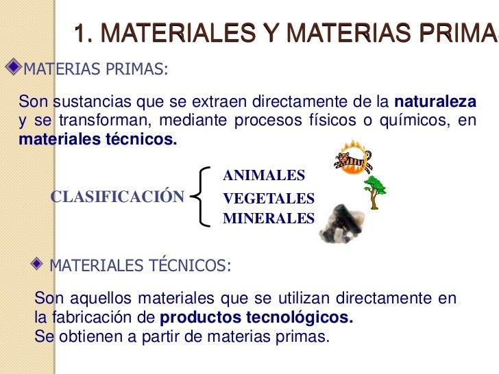 1. MATERIALES Y MATERIAS PRIMASMATERIAS PRIMAS:Son sustancias que se extraen directamente de la naturalezay se transforman...